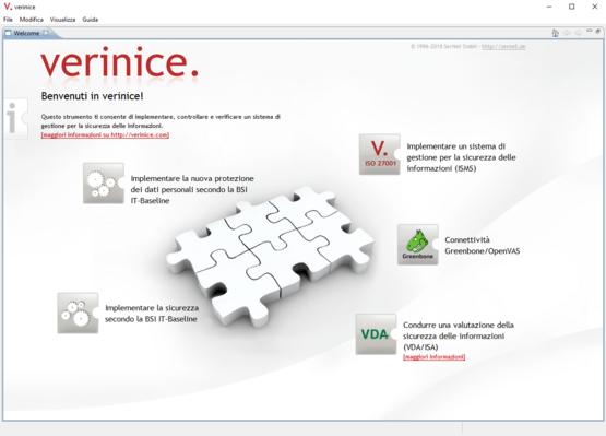 verinice Client: pagina iniziale