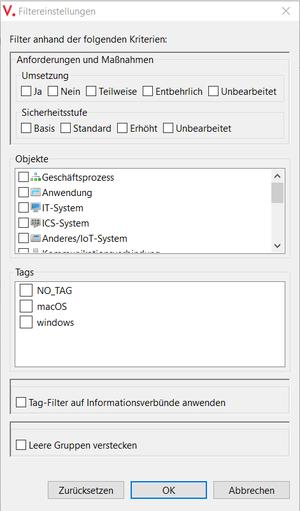Neuer Filter im View Modernisierter IT-Grundschutz: Suche nach Umsetzungsstatus und Sicherheitsstufe für Anforderungen und Maßnahmen